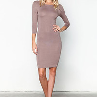 MOCHA SLEEVE JERSEY KNIT MIDI DRESS