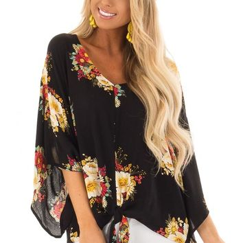 Sable and Floral Print Top with Knot Tie Detail