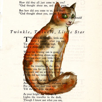 Callico Cat Book Page Art Poem Page Print Upcycled Page Art Antique Book Art Calico Cat Print cp338