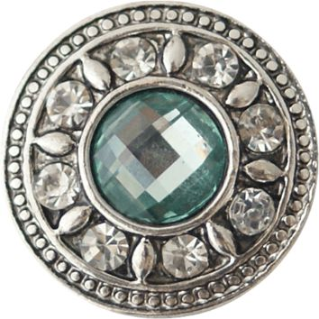"Chunk Snap Charm Aquamarine Crystal Center Rhinestones Border 20mm, 3/4"" Diameter"