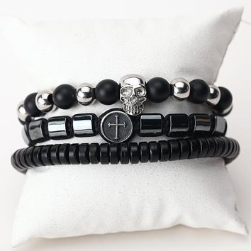 Natural Stone Beads And Leather Multilayer Men's Bracelets