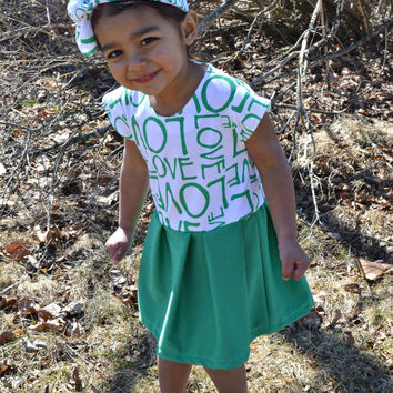 Toddler Girl Set: Green Love Zippered Dress and Headband, Size 2T - 3T