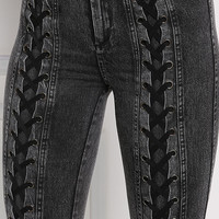 Black Mid Rise Lace Up Jeggings