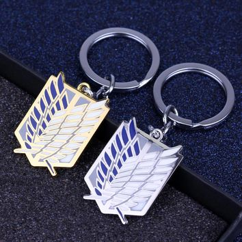 Cool Attack on Titan HEYu Jewelry Anime  Keyhchain Cosplay Key Chain Wings Drip Flag Key Rings Holder Metal Shield Accessories AT_90_11