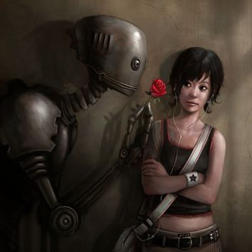 """""""Robot In Love"""" - Art Print by Rudy-Jan Faber"""