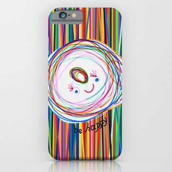 Be Happy | Smile | Stay Child | Kids Painting iPhone & iPod Case by Azima
