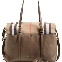 Infant Burberry Classic Check & Leather Diaper Bag