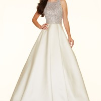 Paparazzi by Mori Lee 98016 Jeweled Illusion Ball Gown