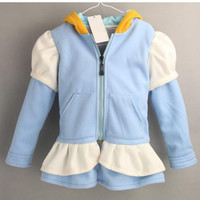 2014 Frozen Elsa Anna Coat winter cartoon Plush Outerwear Hoodie Outerwear Jackets Coats Kids Cartoon Hooded Thickening Clothing With Braid