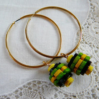 Brass Hoop Earrings Wood Beads Green Yellow Black by DiBAjewelry