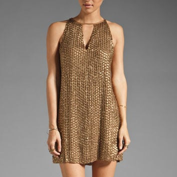 Parker Leather Sequin Keyhole Dress in Copper from REVOLVEclothing.com