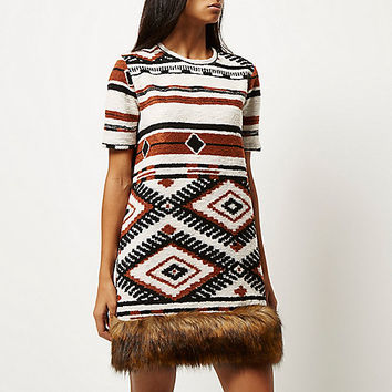Cream geometric faux-fur trim dress