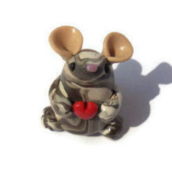 Miniature polymer clay mouse sculpture, small mouse figure, terrarium figurine, little clay animal sculpture.