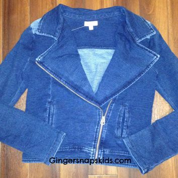 Splendid Blue Knit Moto Jacket (sz 7/8-14)