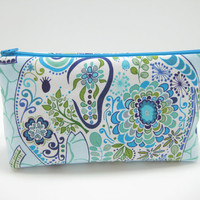 Elephant Cosmetic Bag, Elephant Accessory Pouch, Zippered Pouch, Cosmetic Pouch, Blue Elephant Print, Ready to Ship