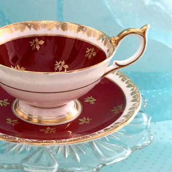Vintage Aynsley Tea Cup, Bone China Teacup Set, Burgundy Red Gold Tea Cup, Hollywood Regency, Bridal Shower Tea, High Tea, Birthday Gift