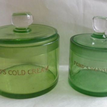 Vintage Green Glass Ponds Cream Vanity Jars