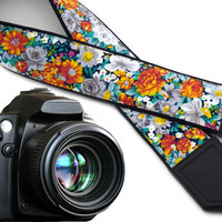 Flowers Camera strap.  Orange roses camera strap.  DSLR / SLR Camera Strap. Camera accessory by InTePro.