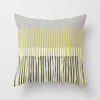 Yellow Rising - abstract stripes in yellow, grey, black & white Throw Pillow by micklyn | Society6