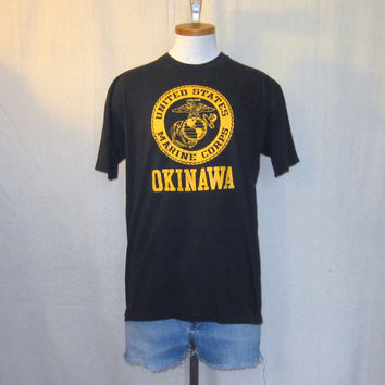 Vintage 80s MARINES OKINAWA GRAPHIC Veteran Military Japan War Black Soft Large 50/50 T-Shirt