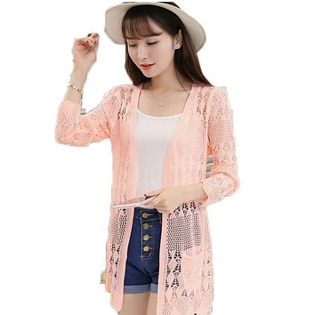 Ladies Crochet Tops Summer Hollow Out Knitted Sweaters Cardigan Rebecas Mujer Fashion Women Beach Cardigan Spring Autumn