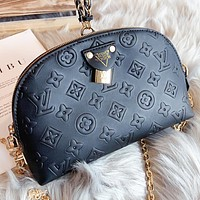 LV Louis Vuitton New fashion monogram leather shaped shoulder bag crossbody bag Black