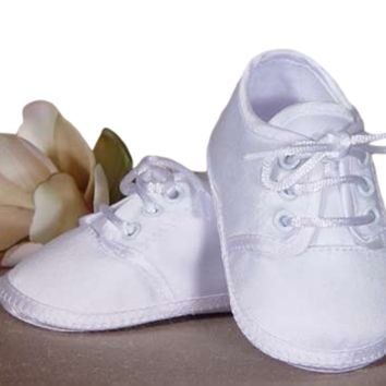 Baby Boys White Matte Satin Oxford Shoes 0-9M