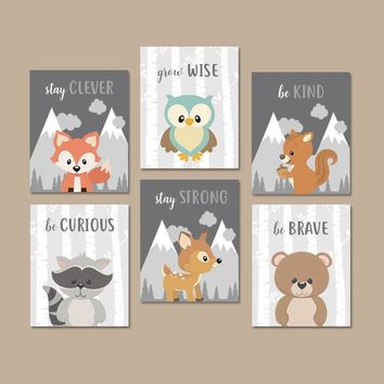 WOODLAND Animals Wall Art, Woodland Animals Quotes Nursery Decor, Baby Boy Nursery Canvas or Prints Woodland Creatures Artwork Set of 6