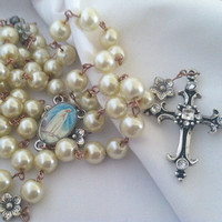 VIrgin Mary Rosary with Flowers Cross Warm Cream Color Pearls Church