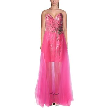 Mac Duggal Womens Sequined Strapless Formal Dress