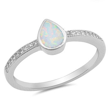 Sterling Silver Bezel Set Pear Opal & CZ Ring - White