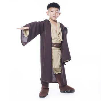 Star Wars Jedi Warrior Costume Robe Tunic Pants BeltKids Child Halloween Party Gifts Cloak Brown Polyester Cosplay Costome