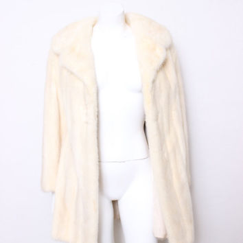 Vintage M Jacques Fashion Island Newport Beach White Mink Winter Fur Coat, Very Marilyn Monroe