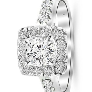 d.1.25 Carat 14K White Gold Square Halo Cushion GIA Certified Round Cut Diamond Engagement Ring (0.75 Ct D Color VS1 Clarity Center Stone)