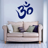 Housewares Wall Vinyl Decal Om Symbol Buddha Sacred Indian Design Interior Art Mural Decor Sticker Buddhism Divine Buddhist Sign SV4039