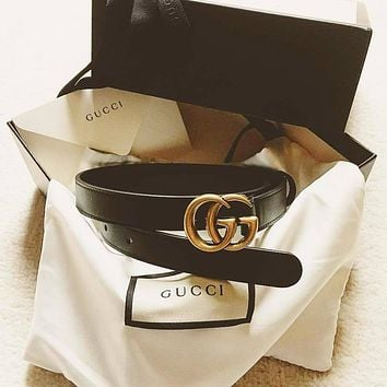 GUCCI Woman Width  Fashion Smooth Buckle Leather Belt