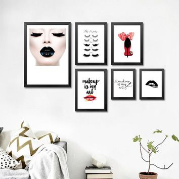 Modern Fashion Beauty art canvas poster prints Eyelash high heel on canvas wall art paintings home decor no frame DP0412-1