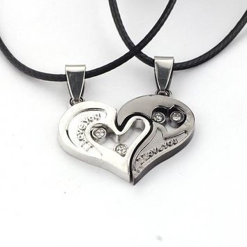 Men Women picking Lover Necklace I Love You Heart Shape Pendant necklace valentine's day lovers