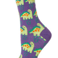 Purple Big Dinosaur Socks - Tights & Socks  - Clothing