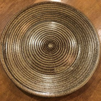 """Country Originals Round Stoneware Plate - Brown Spiral Large 11 3/8"""" Columbia"""