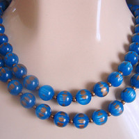 1960s Vintage Blue & Gold Lucite Bead Necklace * Choker * Two Strands * Jewelry * Jewellery