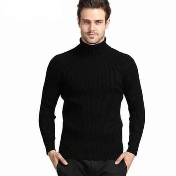 Thick Winter 100% Cashmere Slim Turtleneck Sweater - Men's Sweater