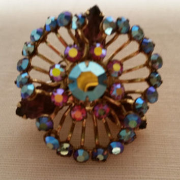 Vintage Iridescent Blue and Pink Carnival Colored Rhinestone Jeweled Brooch/Pinc