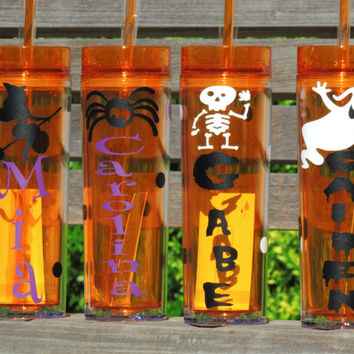 Halloween cups, skinny tumblers, kids cups, halloween party cups, school party cups, acrylic tumblers, personalized cup, halloween tumbler