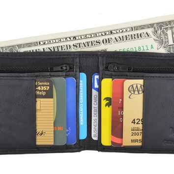 Men's Slim Credit Card Holder Bifold Wallet W/ Zippered Coin Pockets by Swiss Marshal SM-P1618