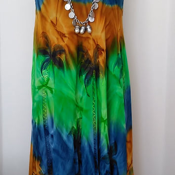 Summer Dress, RETRO  Hippie Dress,  Ombre Gypsy Bohemian Dress      Festival Sleeveless Maternity Tie Dye Dress