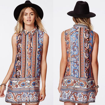Summer Skirt Palace Print Blouse Sleeveless One Piece Dress [4919928132]