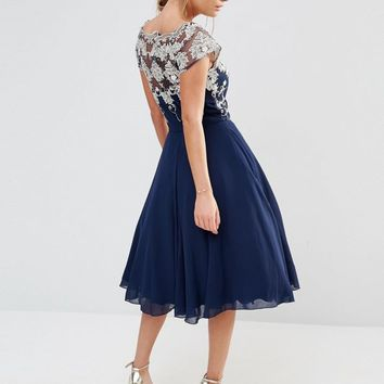 Chi Chi London Chiffon Tulle Prom Dress With Contrast Embroidery at asos.com