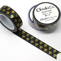 Chichi Co - Gold Foil Gem on Black Washi Tape. 15mm x 10m Chichi Collection. Gorgeous Gold Foil Masking Tape.