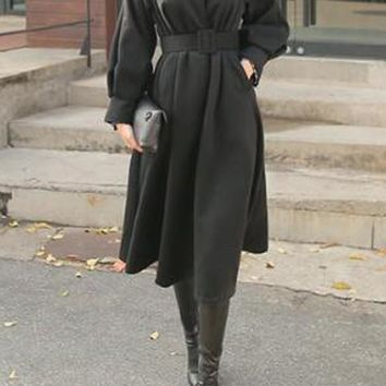 Black Pleated Pockets Belt Petal Neck Long Sleeve Thick Coat